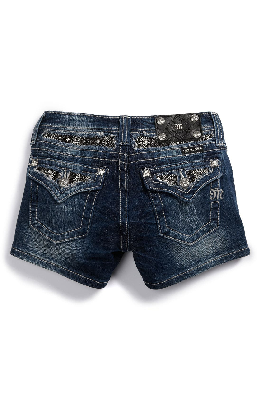 Alternate Image 1 Selected - Miss Me Pointed Flap Pocket Shorts (Big Girls)