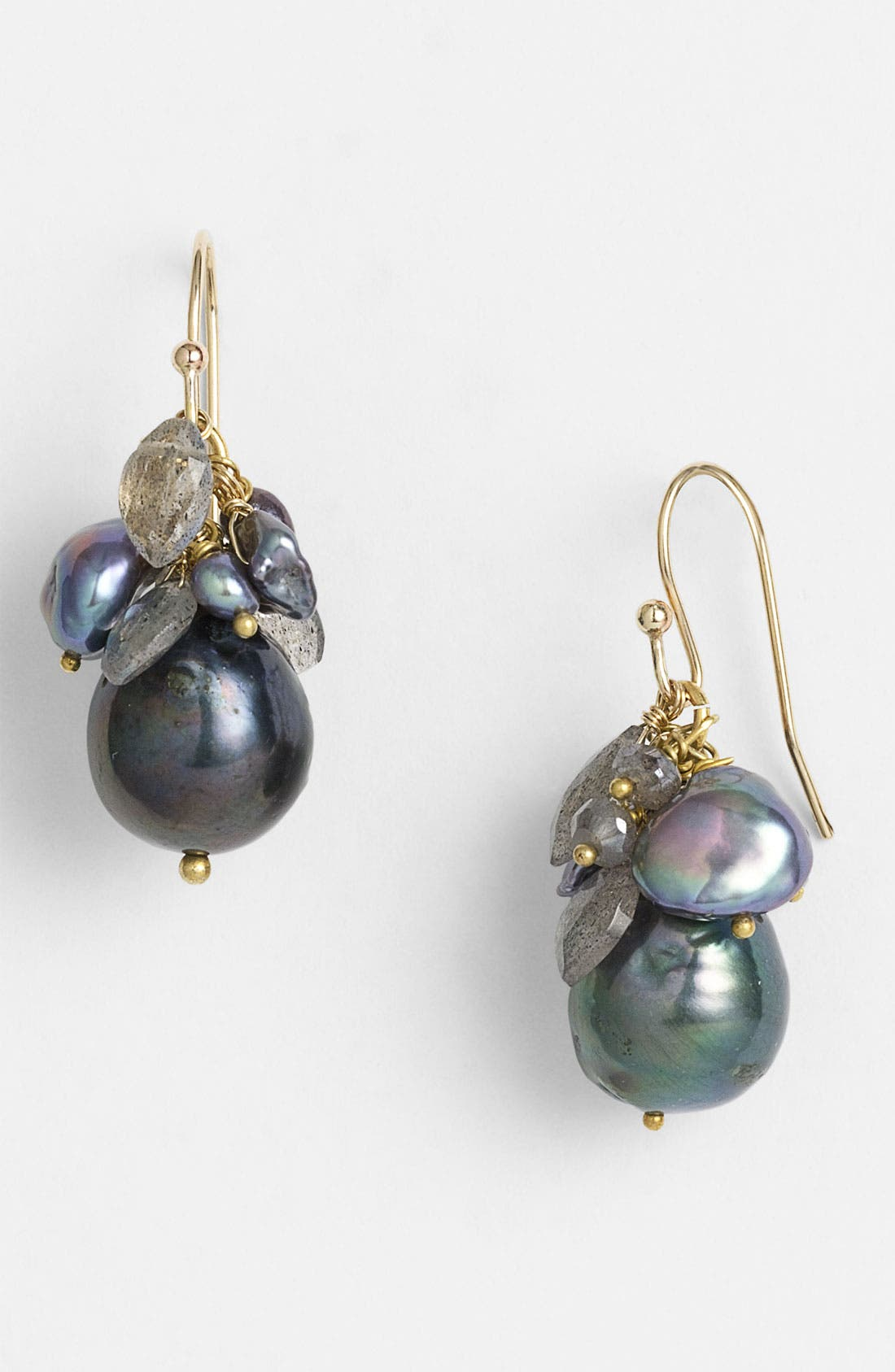'Elements' Cluster Earrings,                         Main,                         color, Silver/ Black Pearl