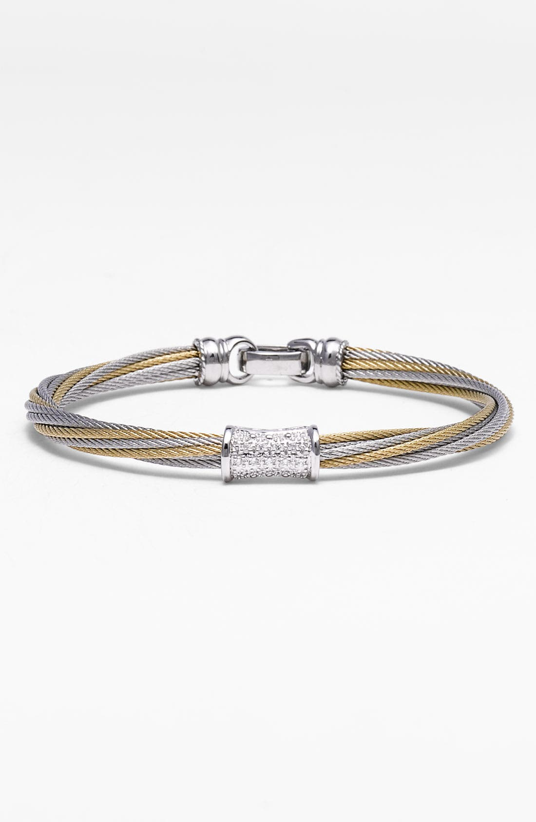 'Mixed Modern' Diamond Station Cable Bracelet,                         Main,                         color, Silver/ Yellow