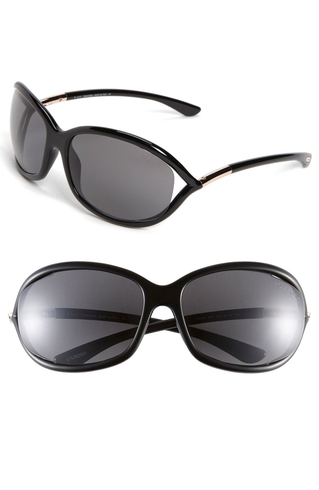 Jennifer 61mm Polarized Open Temple Sunglasses,                         Main,                         color, Shiny Black/ Grey Polarized