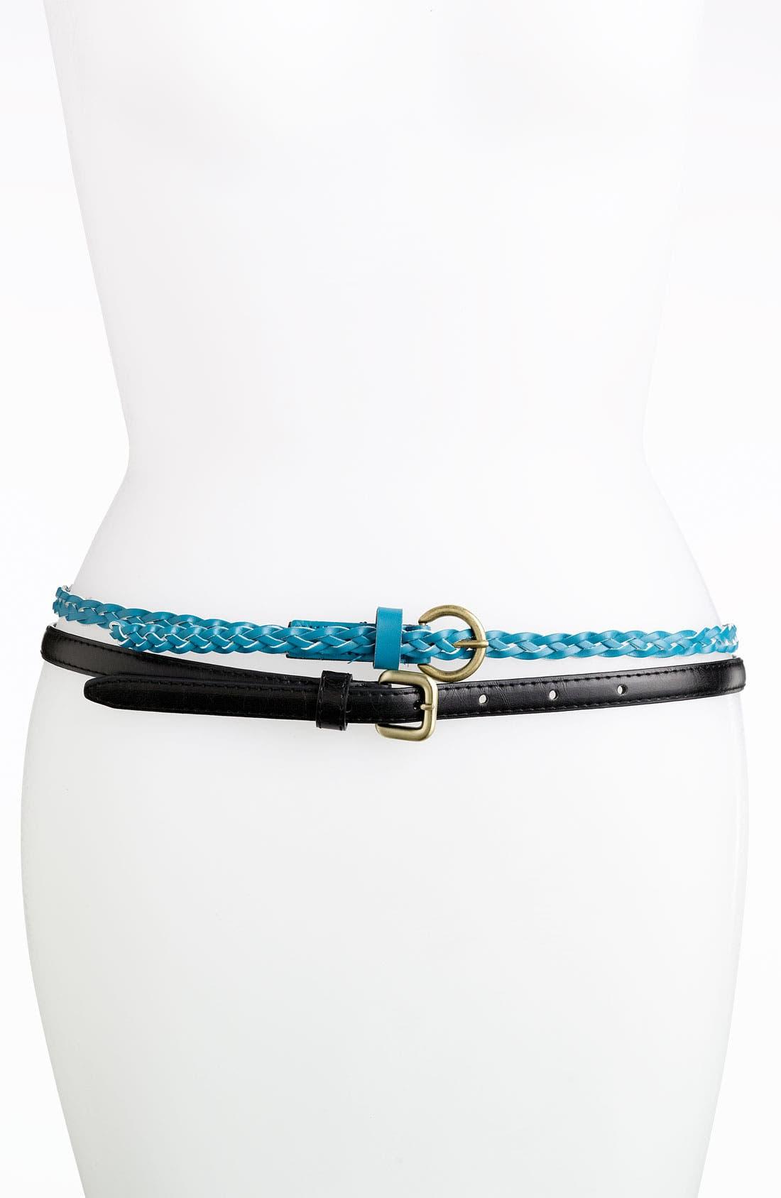 Alternate Image 1 Selected - Lulu Skinny Belts (2-Pack)