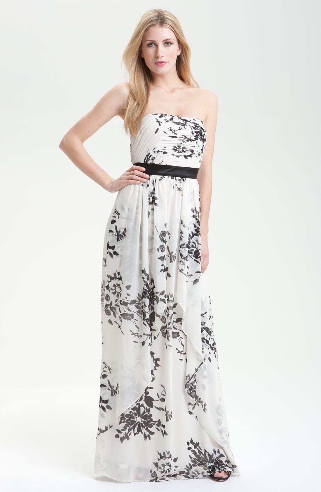 Main Image - Max & Cleo Floral Print Strapless Gown