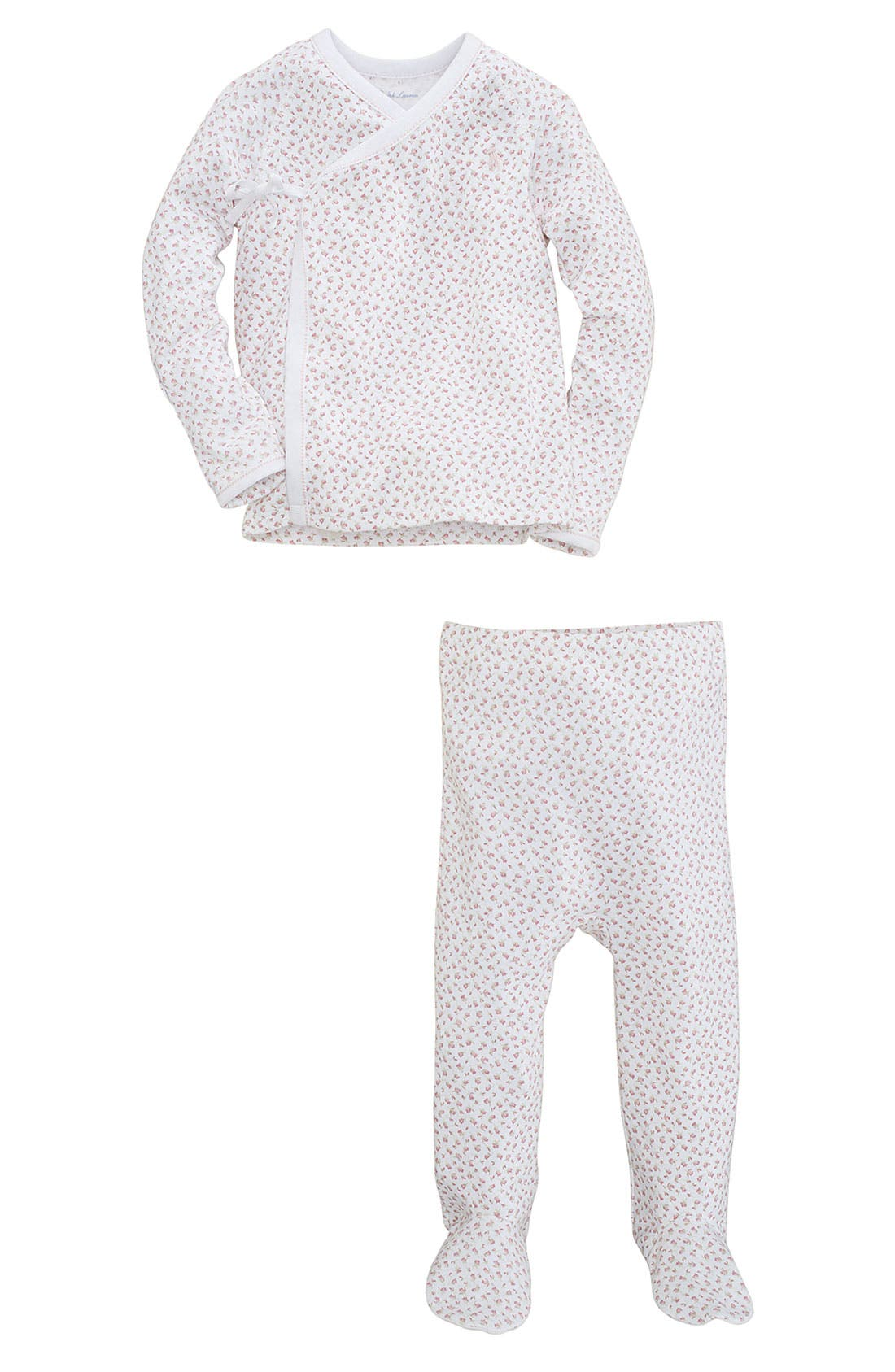 Alternate Image 2  - Ralph Lauren Print Top & Footed Pants Set (Baby)