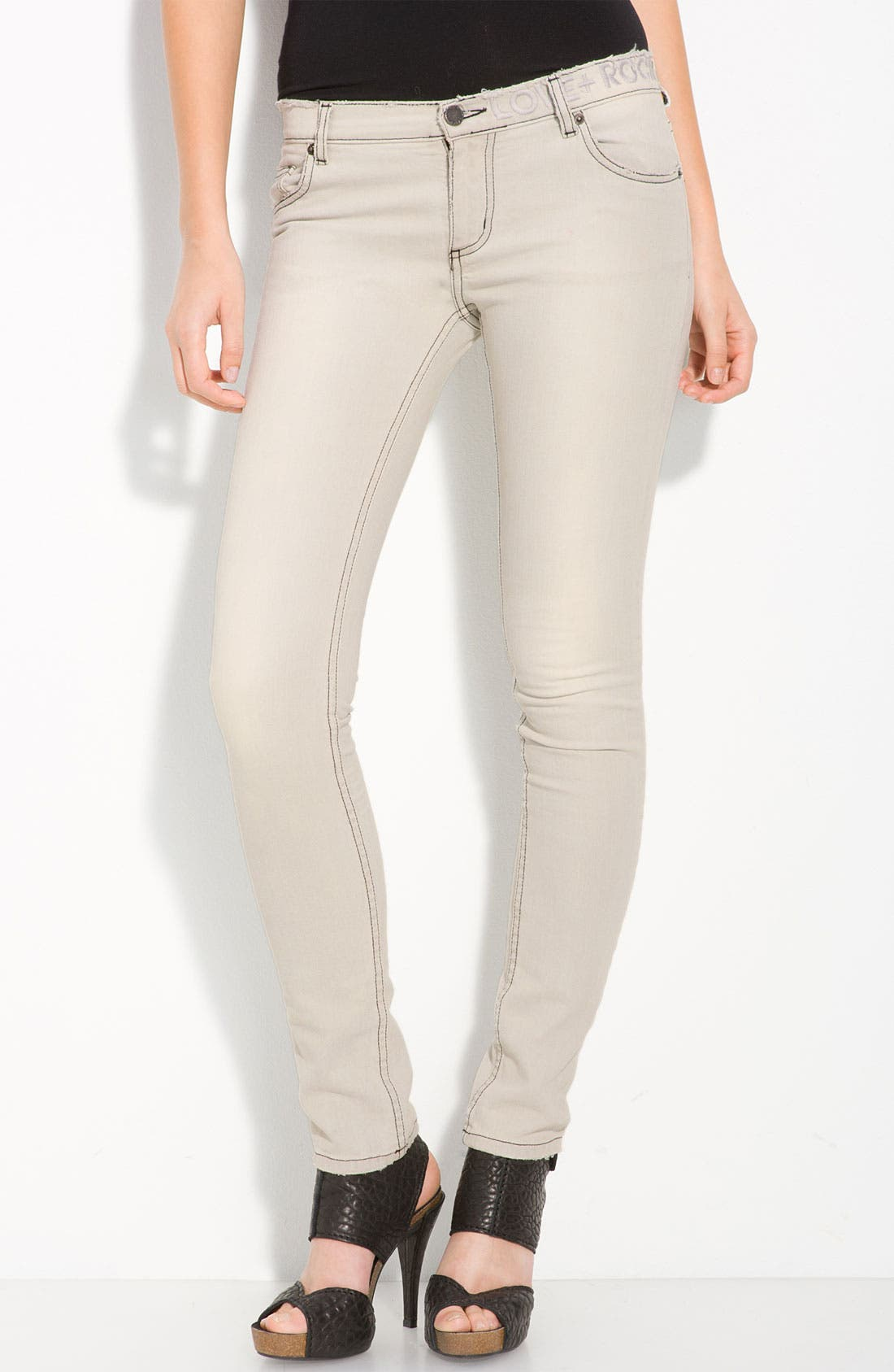 'Darkside' Bleached Skinny Jeans,                             Alternate thumbnail 2, color,                             Blanc