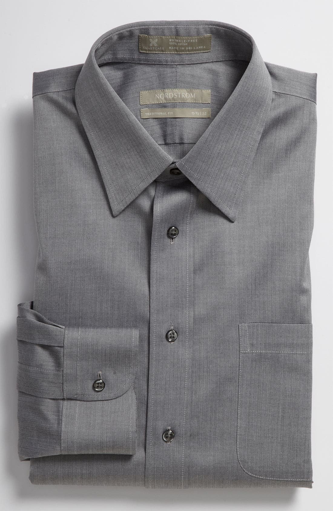 Main Image - Nordstrom Men's Shop Smartcare™ Wrinkle Free Traditional Fit Herringbone Dress Shirt