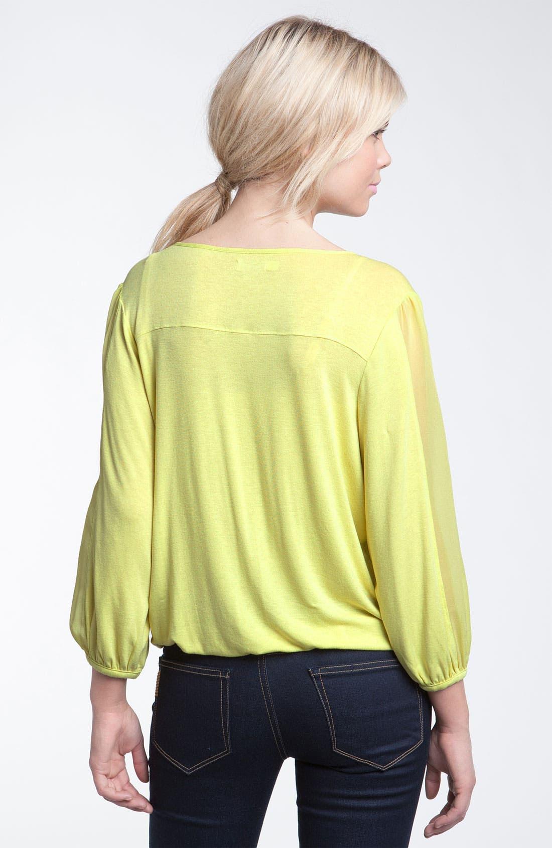 Alternate Image 2  - Hinge® Silk Chiffon Trim Tie Neck Blouse