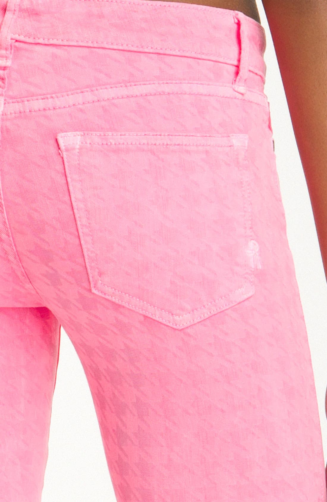 Alternate Image 3  - Rich & Skinny 'Legacy' Houndstooth Print Skinny Jeans (Neon Pink)