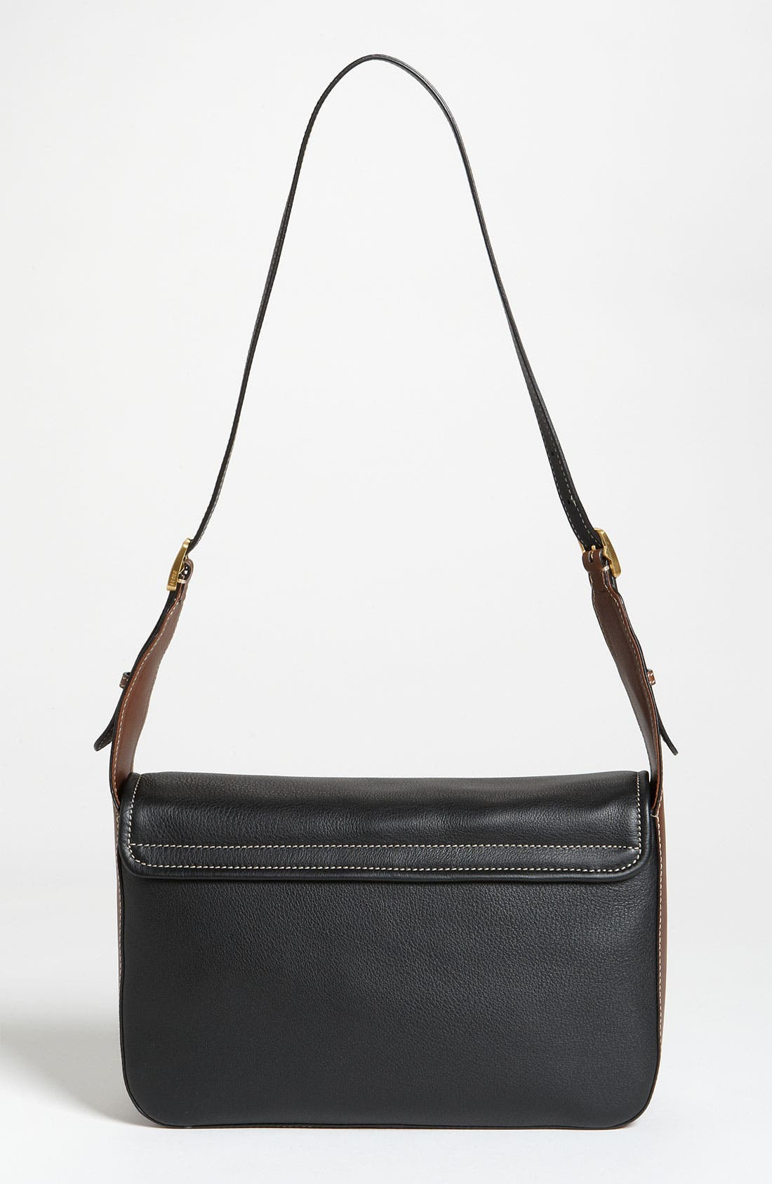 'Chameleon' Leather Shoulder Bag,                             Alternate thumbnail 4, color,                             Black/ Brown