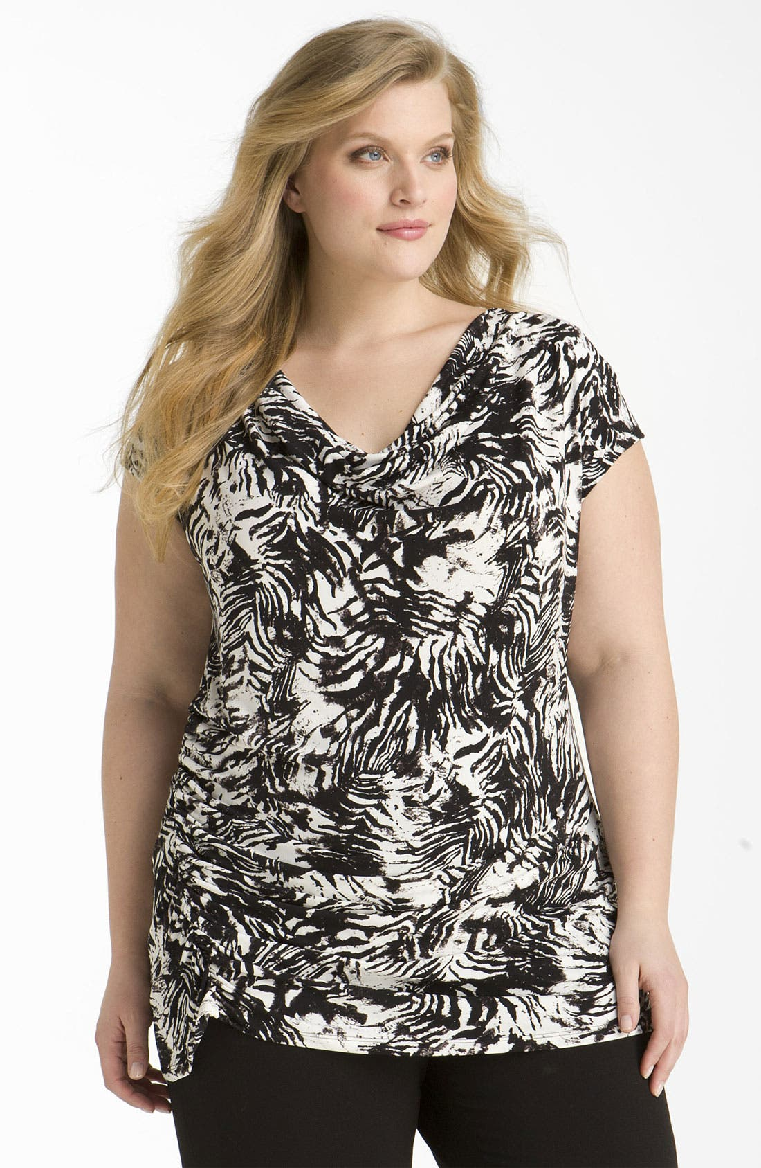 Alternate Image 1 Selected - Vince Camuto 'Zebra Skin' Cap Sleeve Top (Plus)