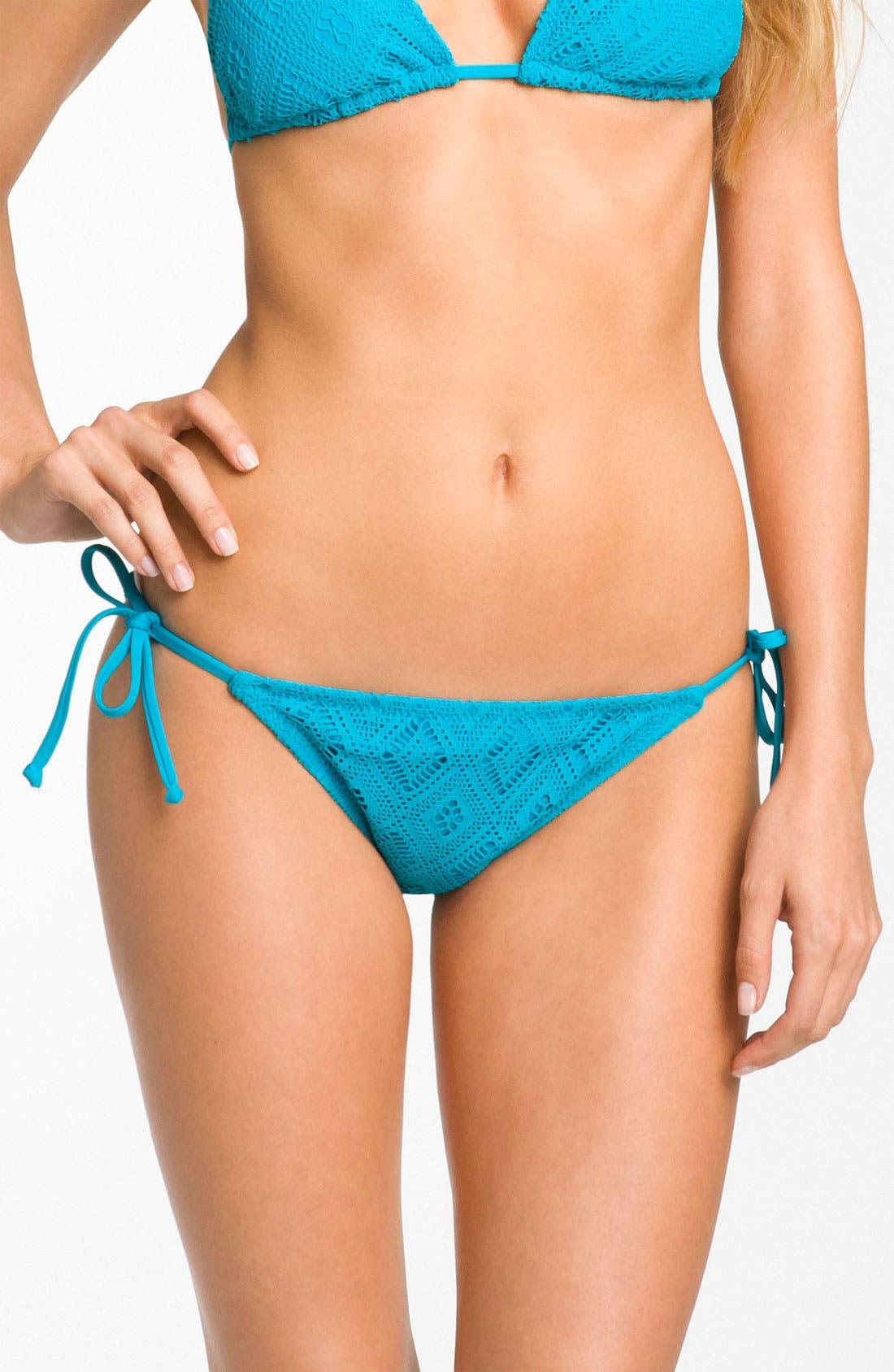 Main Image - Becca Crochet Side Tie Bikini Bottoms