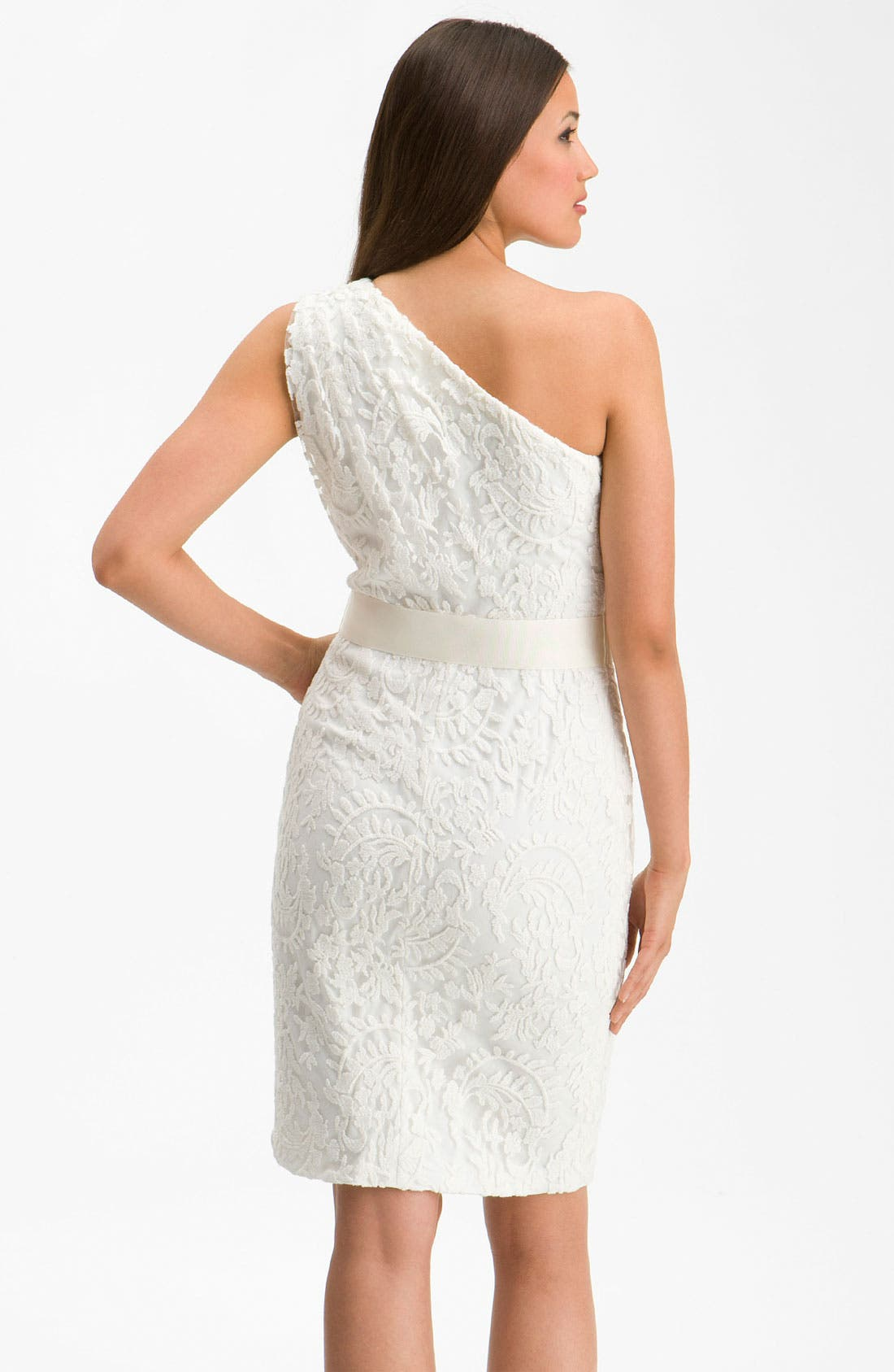 Alternate Image 2  - Tadashi Shoji One Shoulder Lace Overlay Sheath Dress