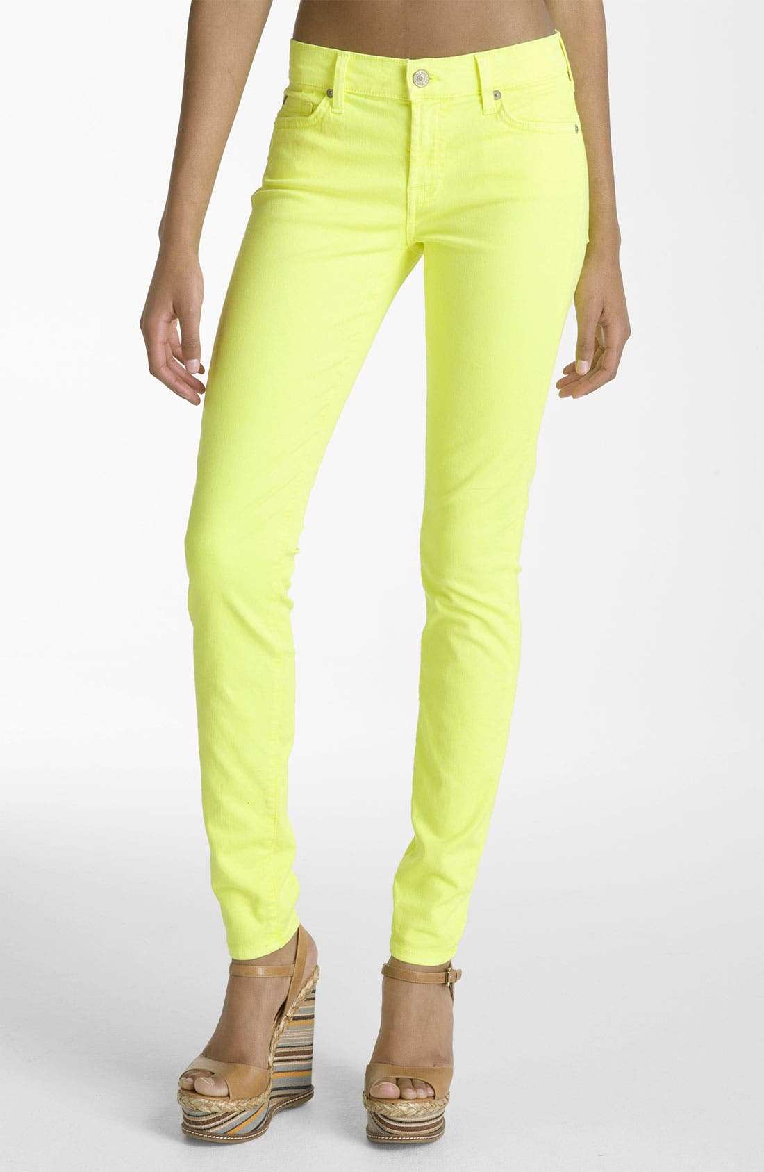 Alternate Image 1 Selected - 7 For All Mankind® 'The Skinny' Overdyed Jeans (Neon Citron Wash)