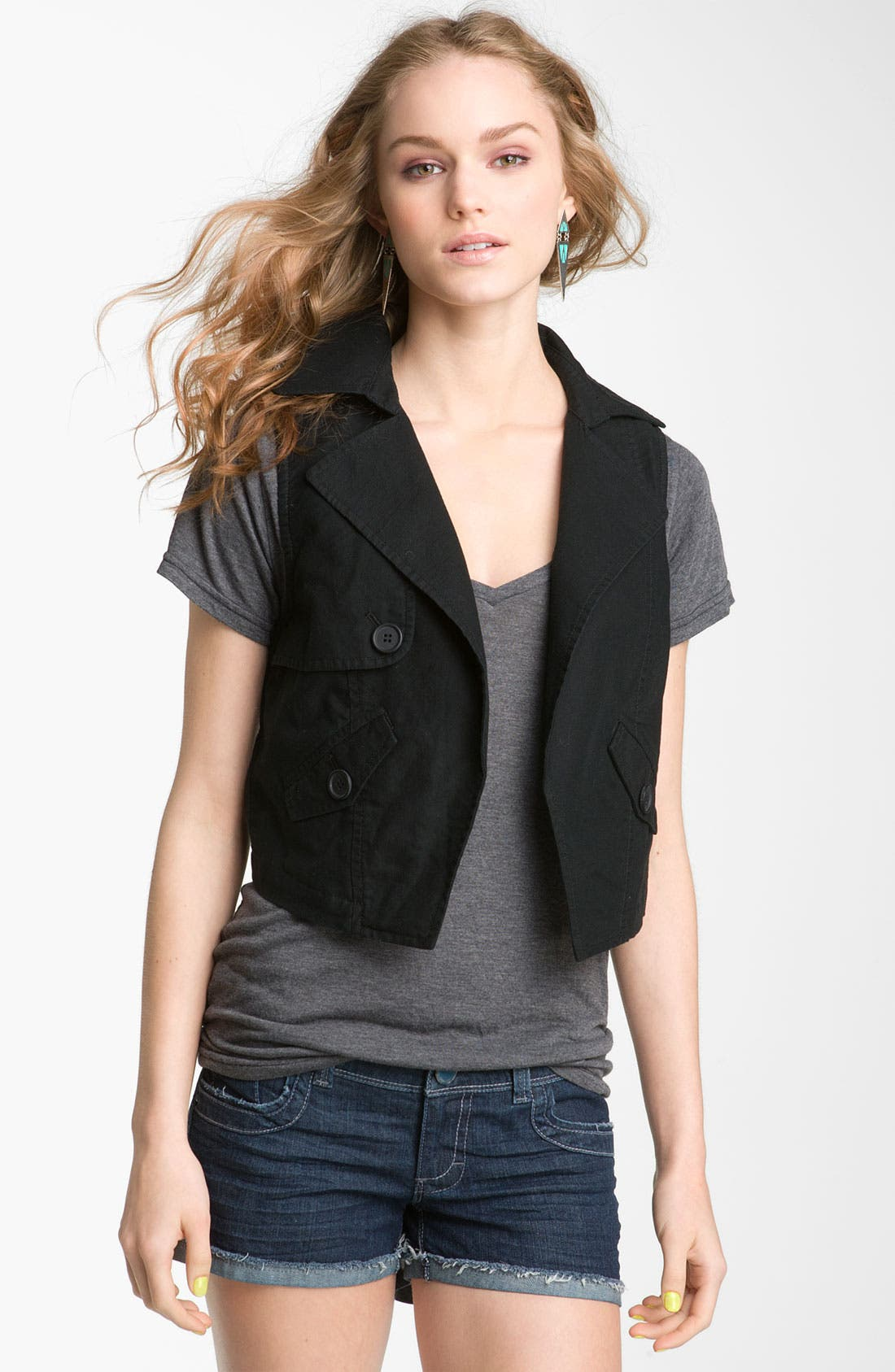 Alternate Image 1 Selected - Rubbish® 'Trench' Crop Vest (Juniors)