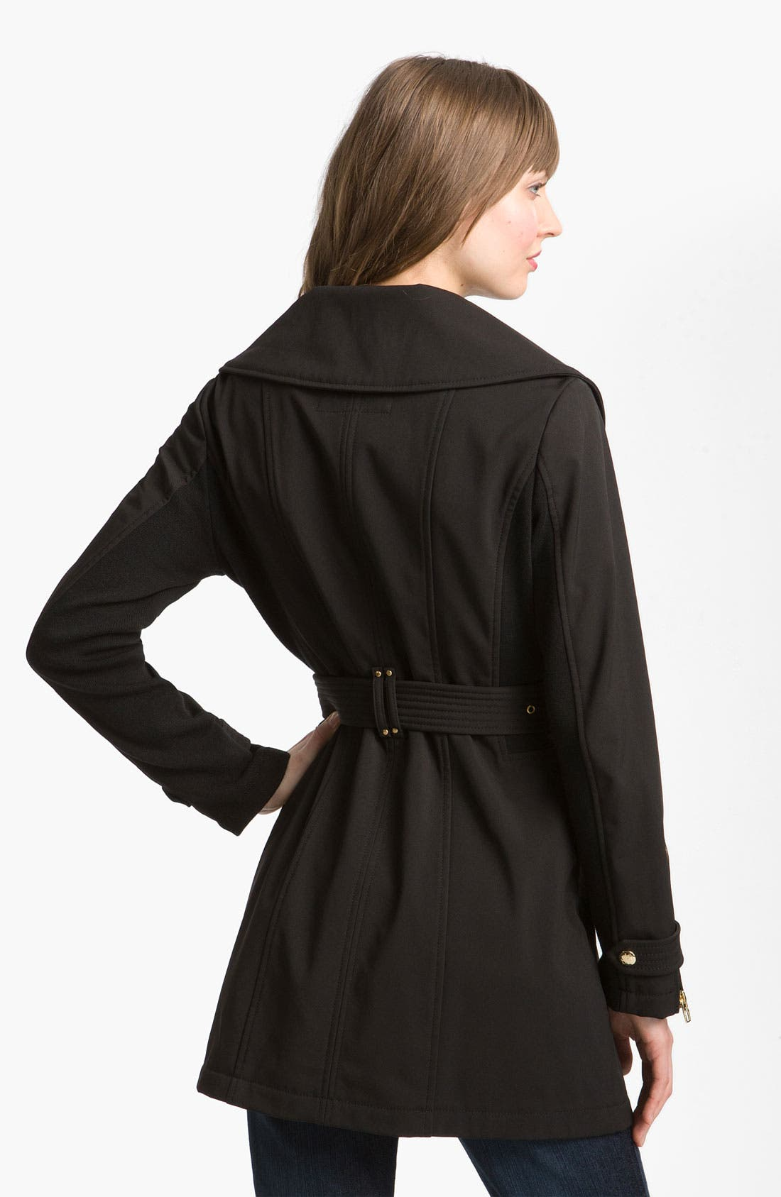 Asymmetrical Soft Shell Jacket,                             Alternate thumbnail 2, color,                             Black