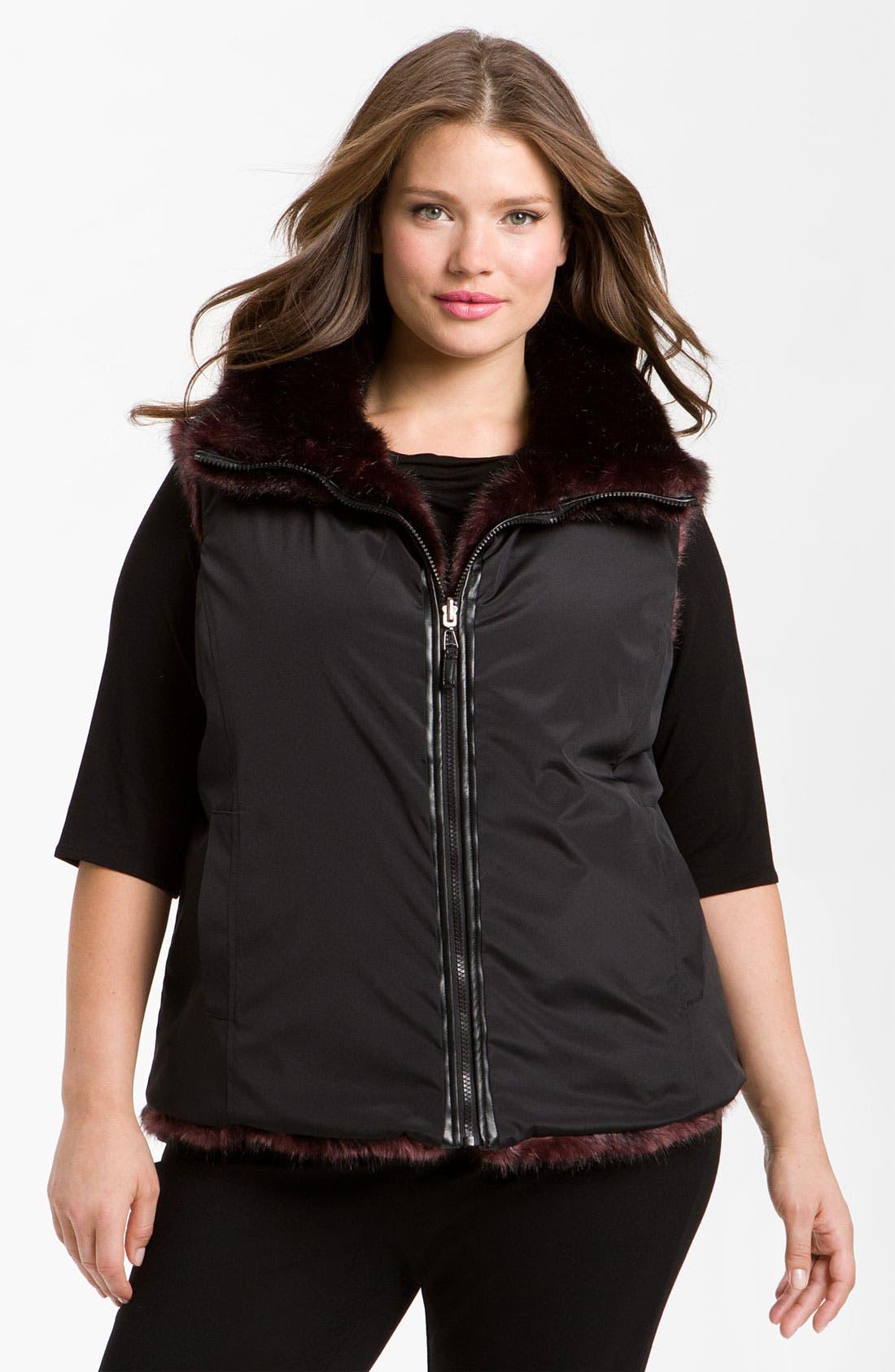 Alternate Image 2  - Gallery Reversible Faux Fur Vest (Plus) (Online Exclusive)