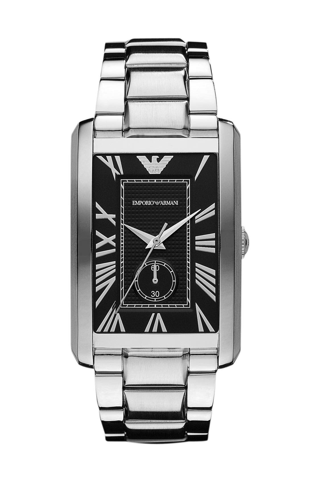 Alternate Image 1 Selected - Emporio Armani 'Classic - Large' Rectangular Dial Watch, 31mm