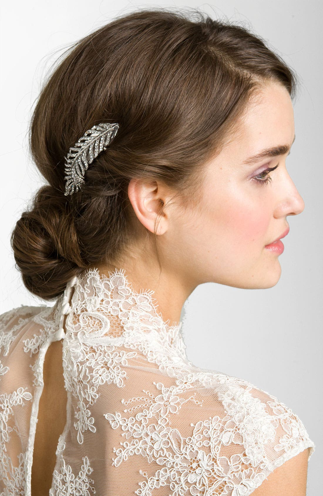 'Feather' Crystal Hair Clip,                         Main,                         color, Silver