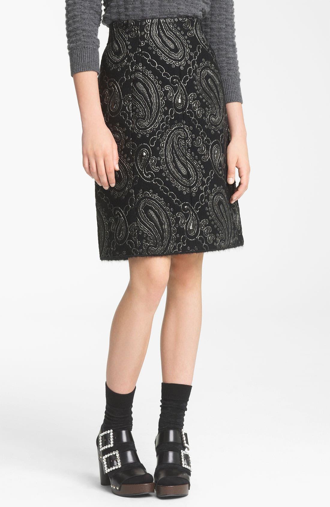 Main Image - MARC JACOBS Metallic Paisley Jacquard Pencil Skirt