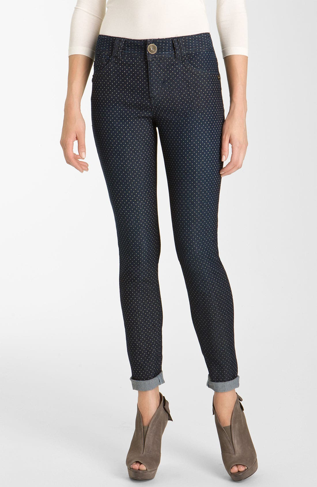 Alternate Image 1 Selected - Wit & Wisdom Dot Print Denim Leggings (Nordstrom Exclusive)