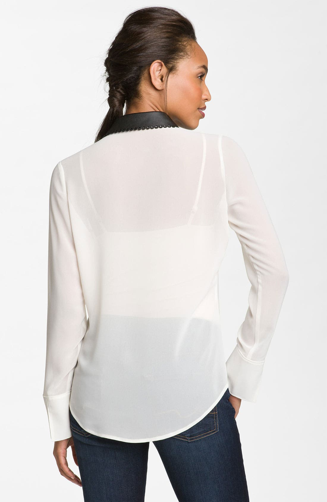 Alternate Image 2  - Hinge® Faux Leather Collar Top