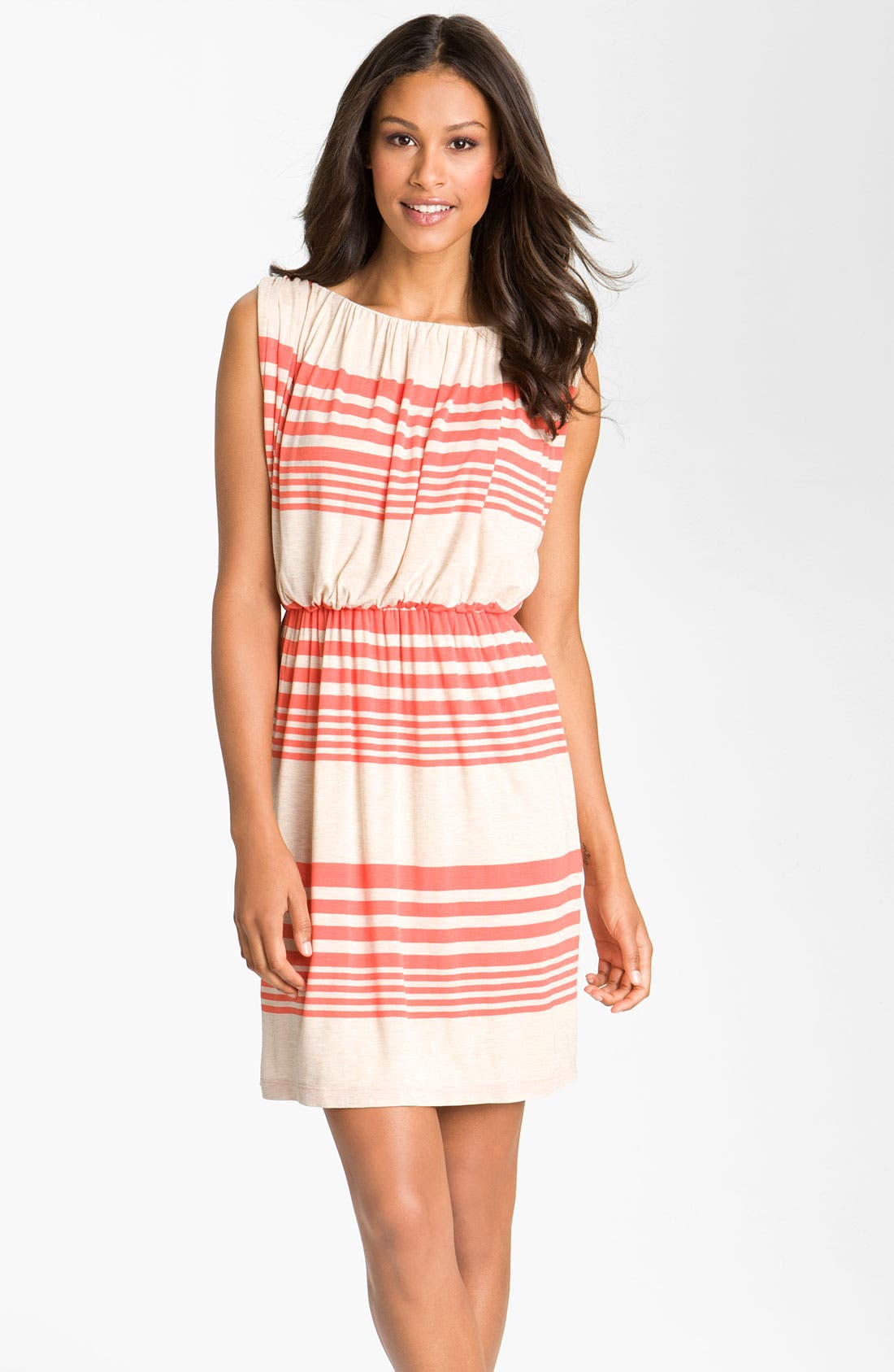 Stripe Jersey Blouson Dress,                             Main thumbnail 1, color,                             Oatmeal/ Tango