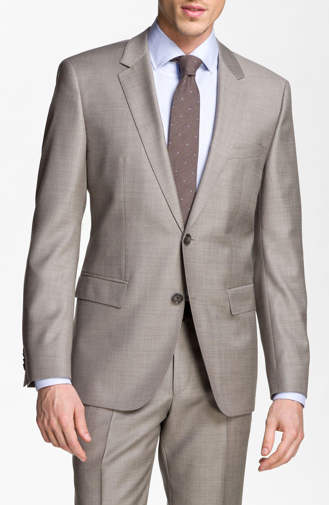 BOSS Black 'James/Sharp' Trim Fit Wool Suit,                             Main thumbnail 1, color,                             Medium Beige