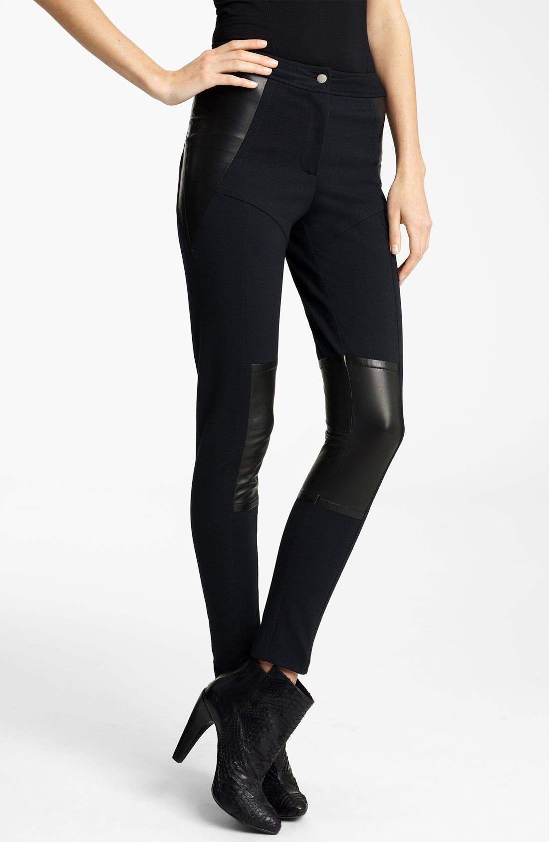 Alternate Image 1 Selected - Yigal Azrouël Leather Panel Ponte Leggings