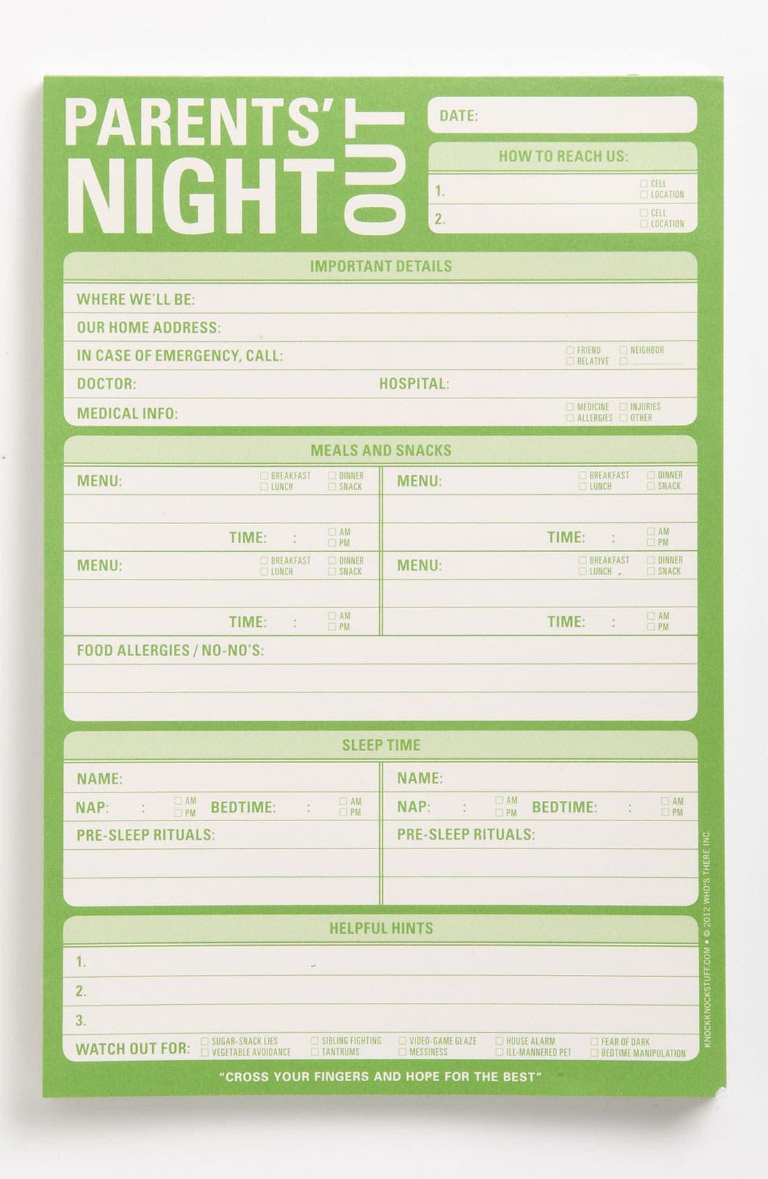 Main Image - Knock Knock 'Parents' Night Out' Notepad