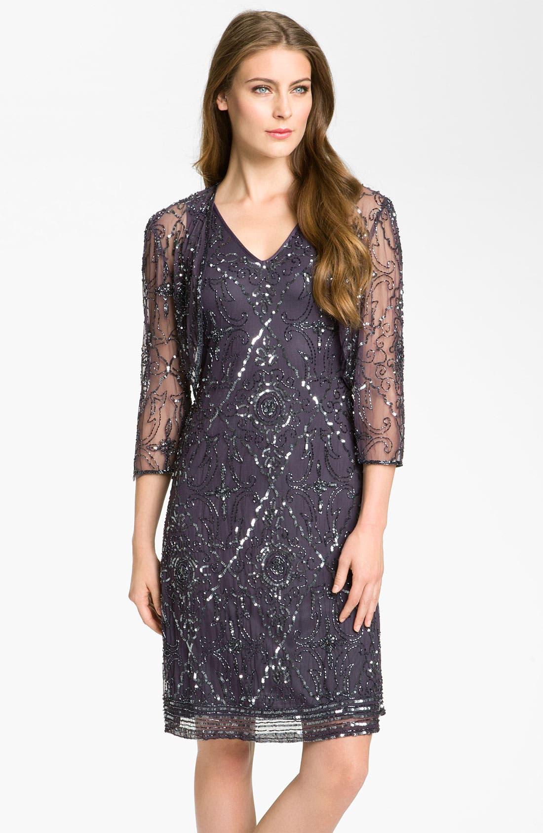 Alternate Image 1 Selected - Patra Beaded Mesh Dress & Bolero