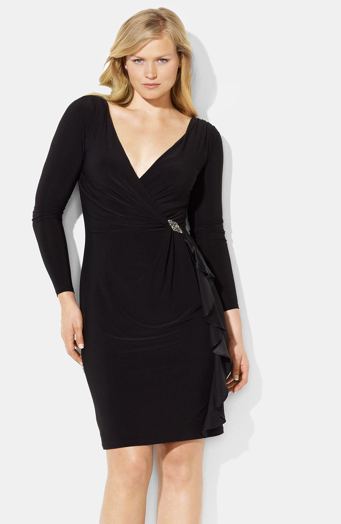 Main Image - Lauren Ralph Lauren Ruffle Matte Jersey Sheath Dress (Plus)