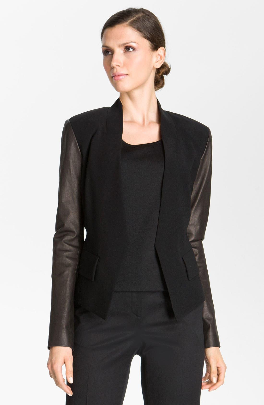 Alternate Image 2  - St. John Collection Crepe Marocain & Leather Jacket