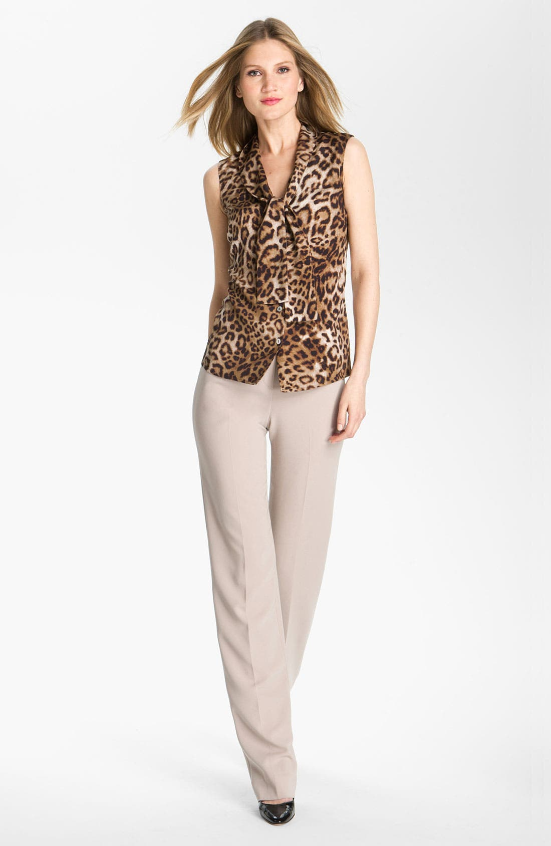 Main Image - St. John Collection Straight Leg Crepe Marocain Pants