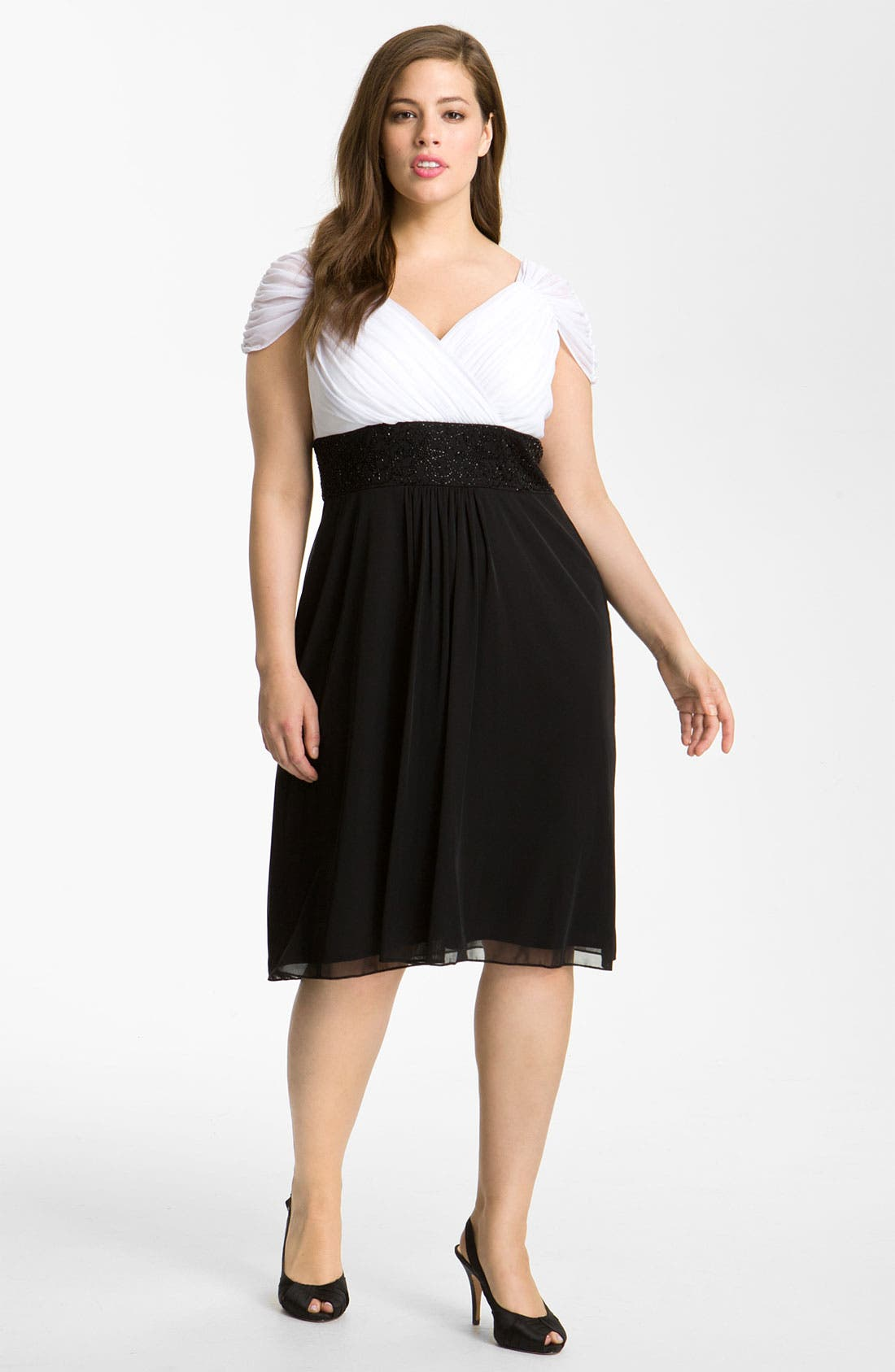 Alternate Image 1 Selected - Alex Evenings Beaded Surplice Dress (Plus)