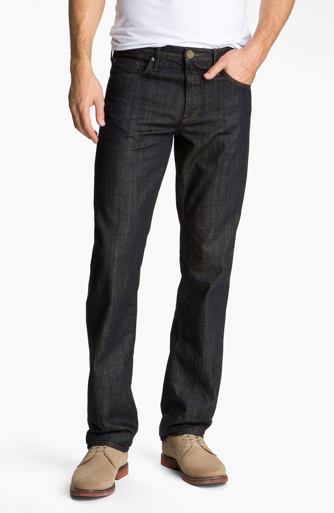 Alternate Image 1 Selected - Burberry Brit 'Cavendish' Resin Washed Denim Jeans (Indigo Blue)