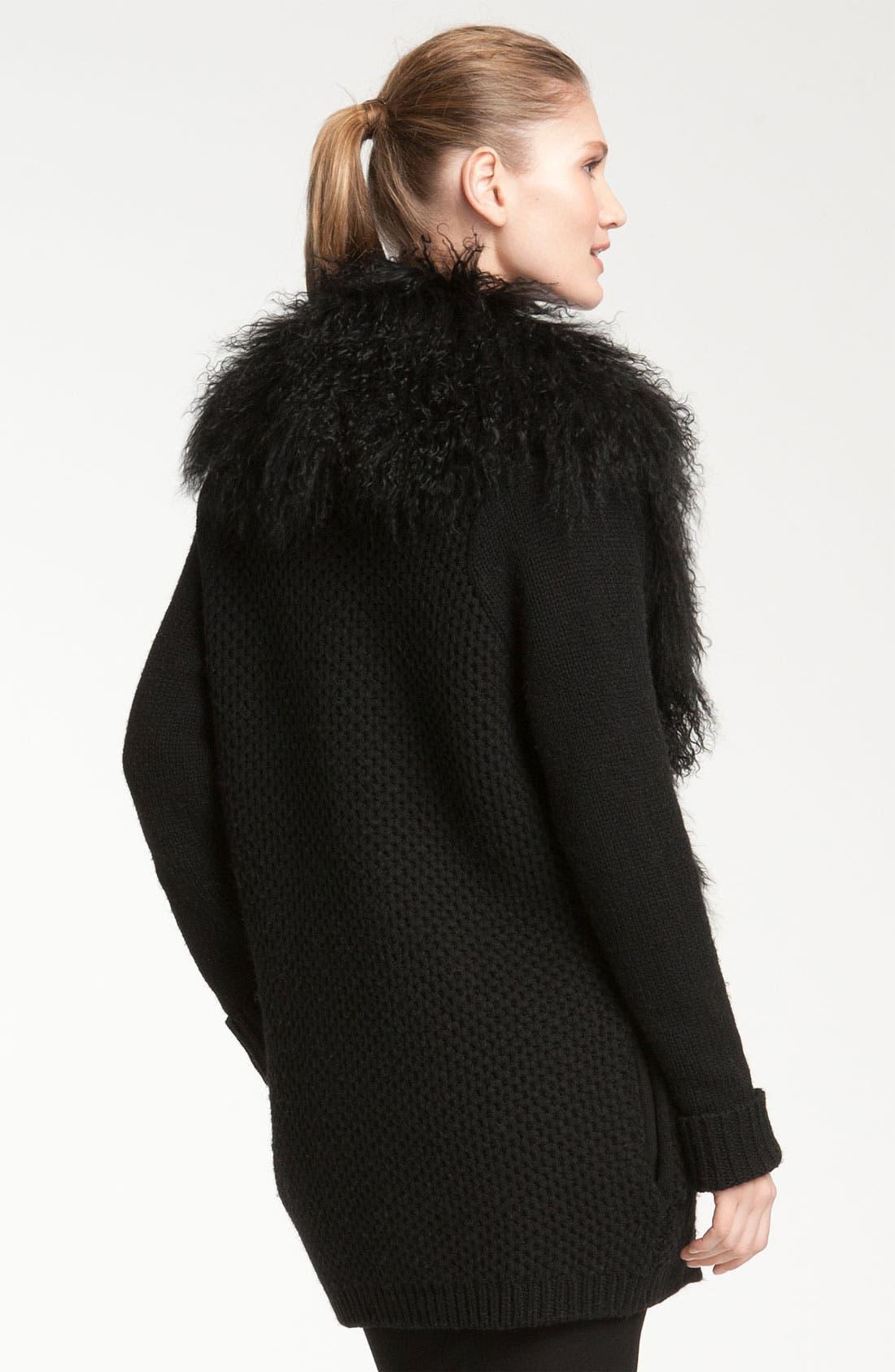 Alternate Image 2  - Vince Genuine Sheep Fur Collar Cardigan