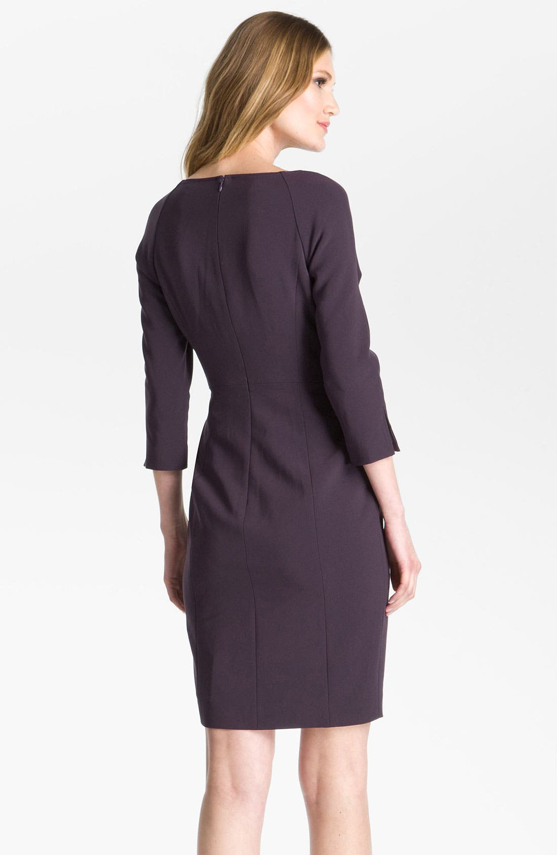 Alternate Image 2  - St. John Collection Raglan Sleeve Crepe Marocain Dress