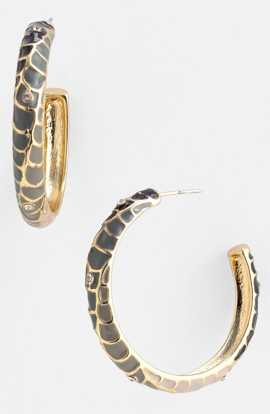 Alternate Image 1 Selected - Sequin 'Feather Plume' Enamel Hoop Earrings