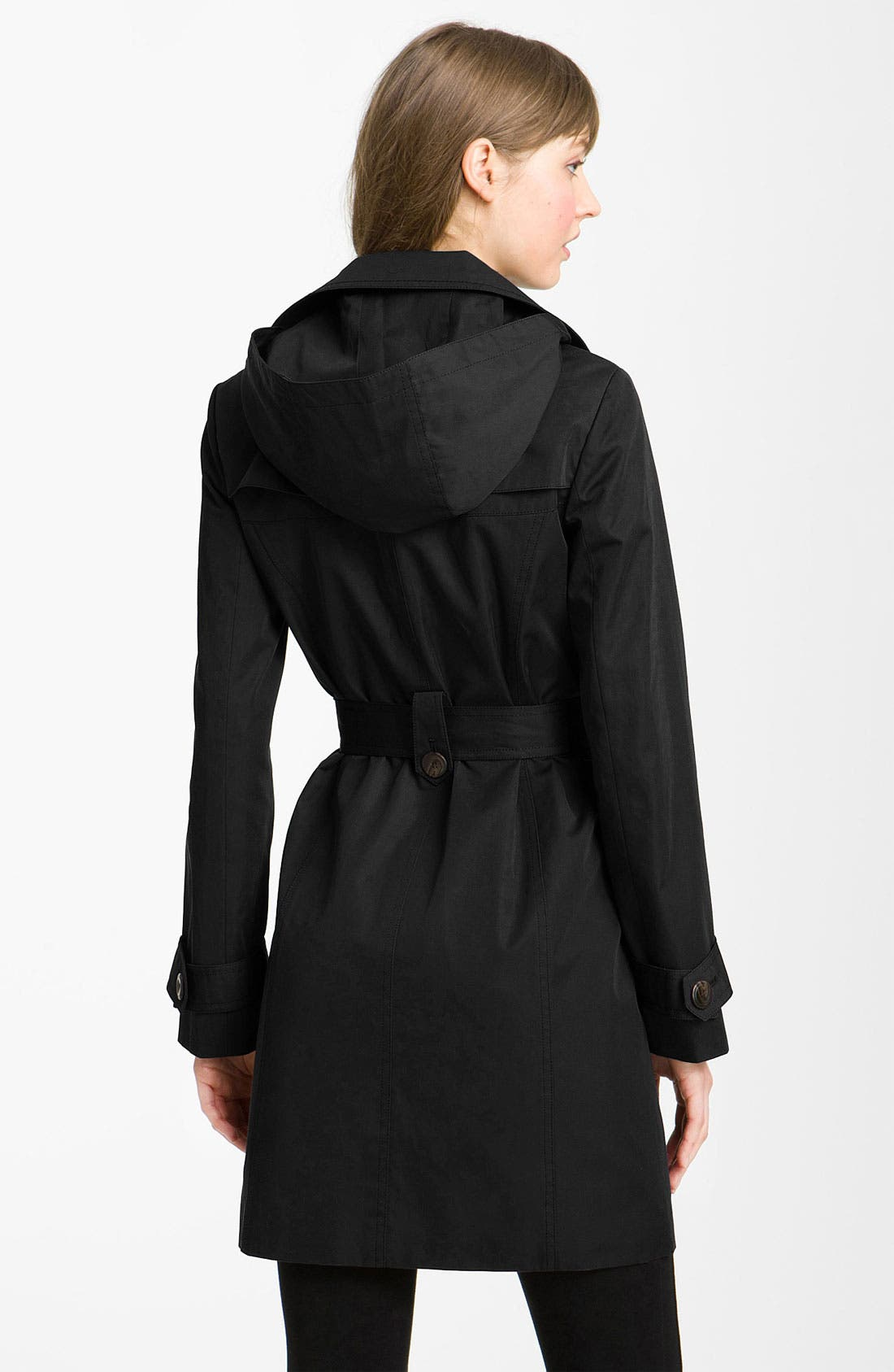 Alternate Image 2  - Ellen Tracy Double Breasted Trench with Detachable Hood (Nordstrom Exclusive)