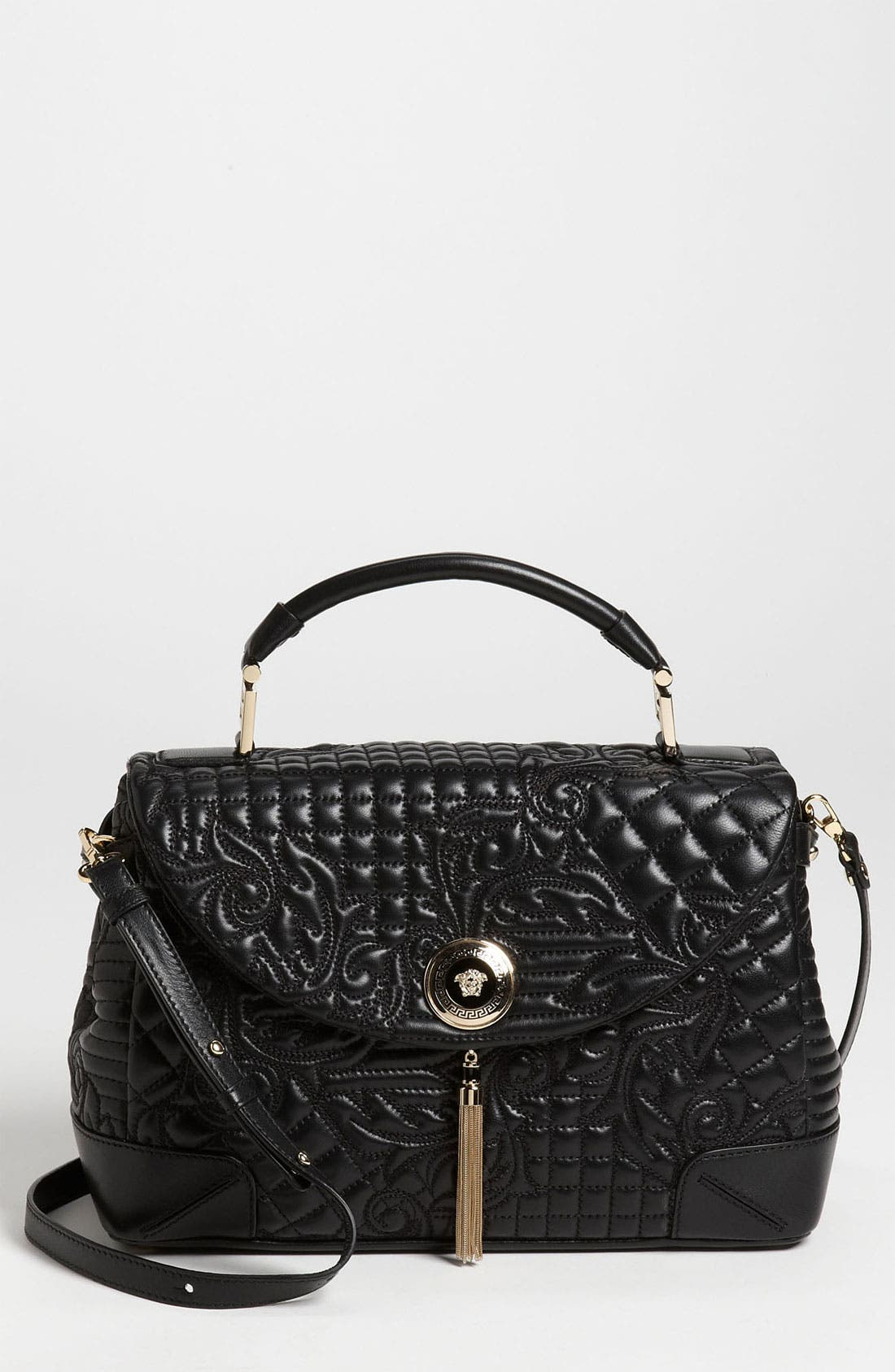 Main Image - Versace 'Vanitas' Embroidered Nappa Lambskin Leather Satchel