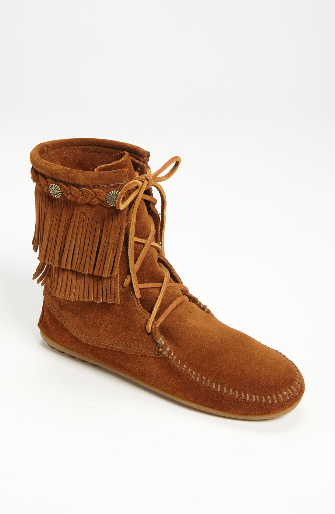 Minnetonka  'TRAMPER' DOUBLE FRINGE MOCCASIN BOOT
