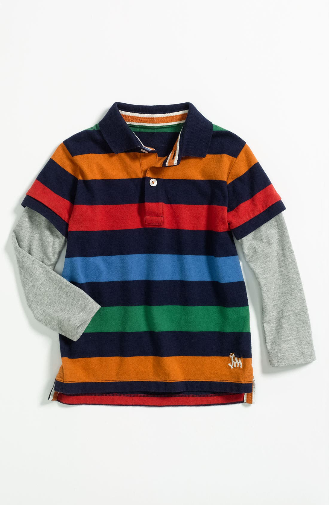 Main Image - Mini Boden Layered Sleeve Polo (Toddler)