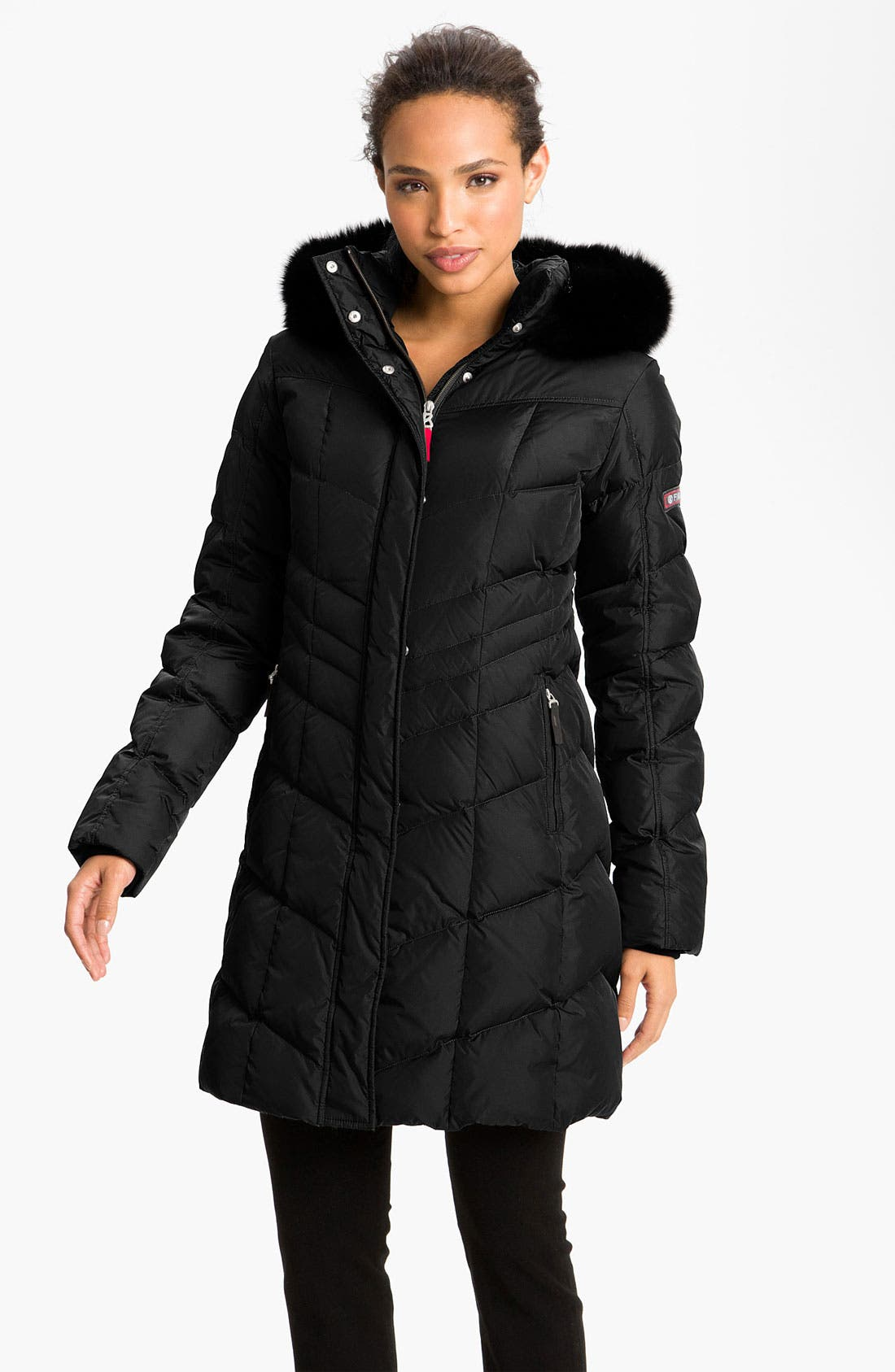 Main Image - Bogner Water Repellent Down Coat with Fox Fur Trim
