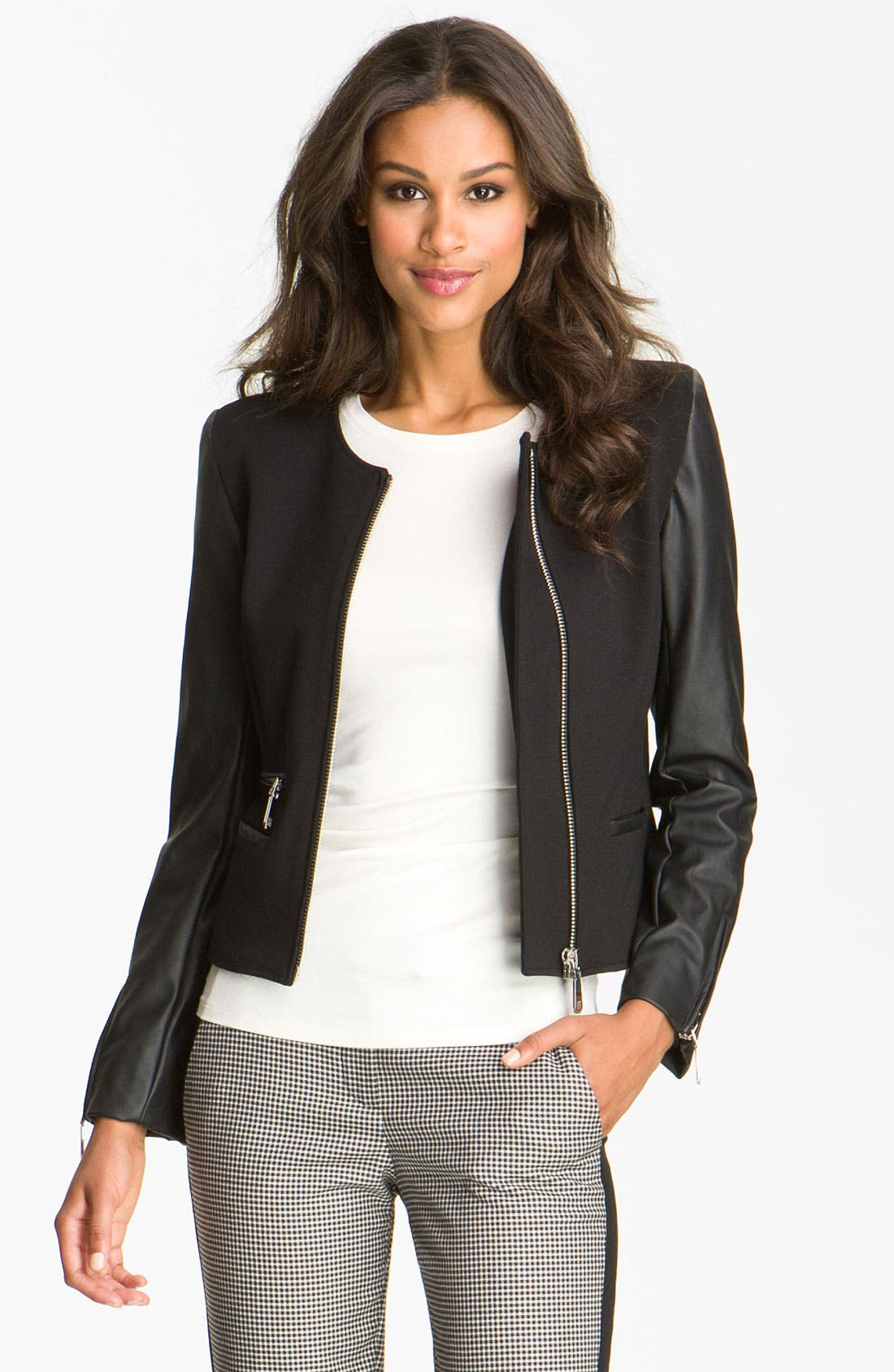 Alternate Image 1 Selected - Vince Camuto Faux Leather Sleeve Jacket