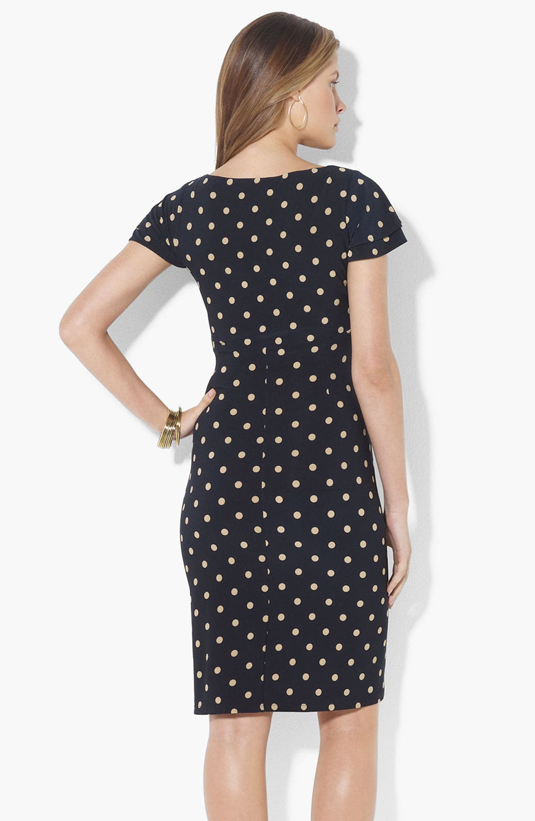 Alternate Image 2  - Lauren Ralph Lauren Polka Dot Flutter Sleeve Jersey Dress