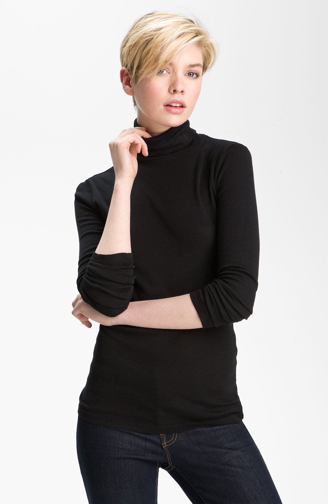 Fitted Turtleneck,                             Main thumbnail 1, color,                             Black