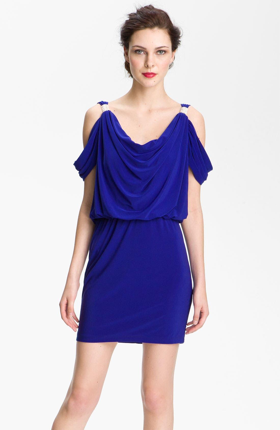 Main Image - Xscape Open Shoulder Jersey Blouson Dress