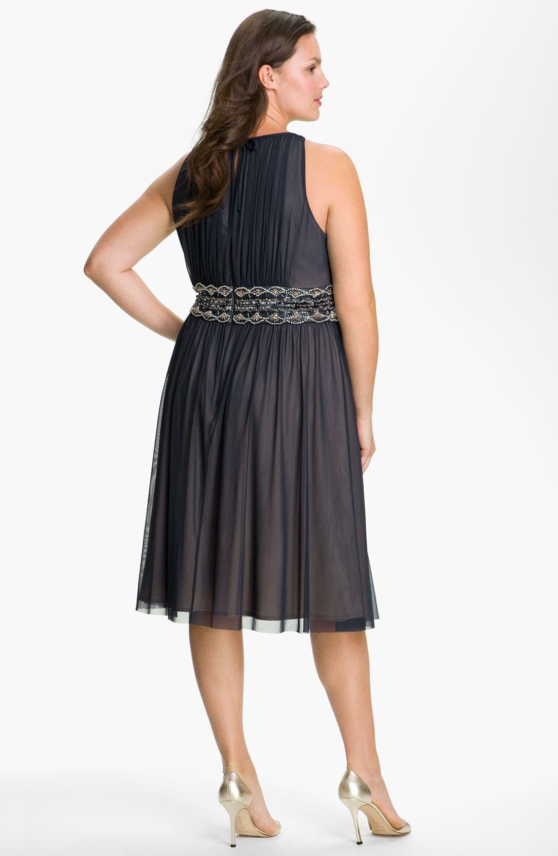 Alternate Image 2  - JS Boutique Beaded Mesh Dress (Plus)