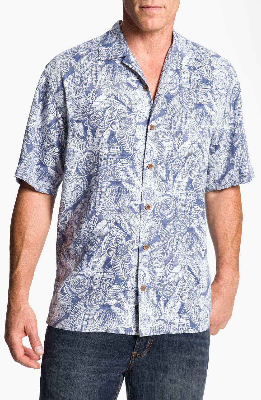 Alternate Image 1 Selected - Tommy Bahama 'Bou-Teak Floral' Silk Campshirt