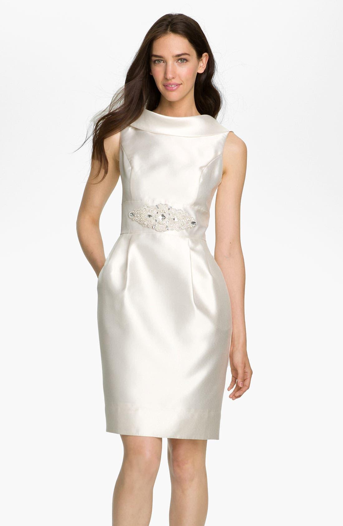 Cowl Collar Mikado Woven Dress,                         Main,                         color, White
