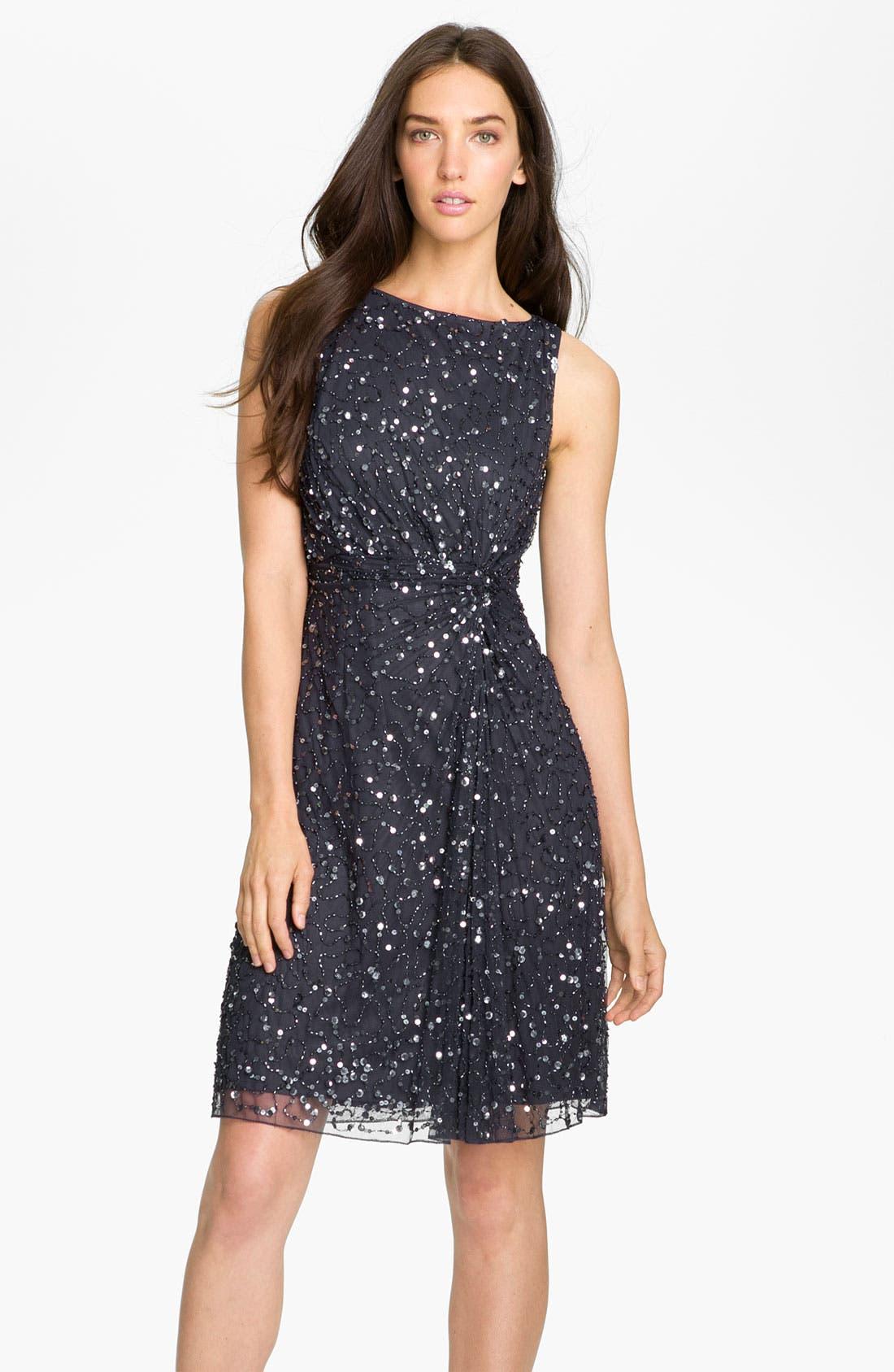 Main Image - Patra Embellished Knot Front Mesh Dress